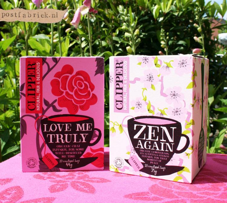 'Love me truly' en 'Zen Again'. Twee prachtig verpakte theesoorten van het merk Clipper.