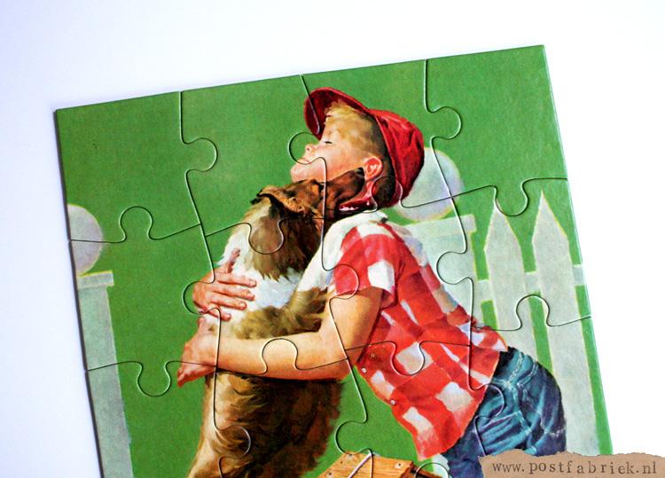 Maak een kaart van een oude puzzel. Een leuke manier om je nieuwsgierige penvriendin een beetje te plagen.