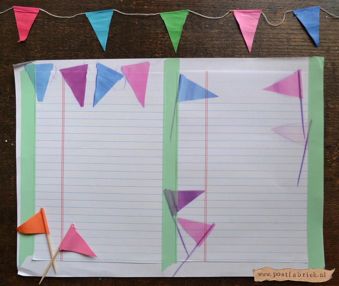Briefpapier met vlaggetjes