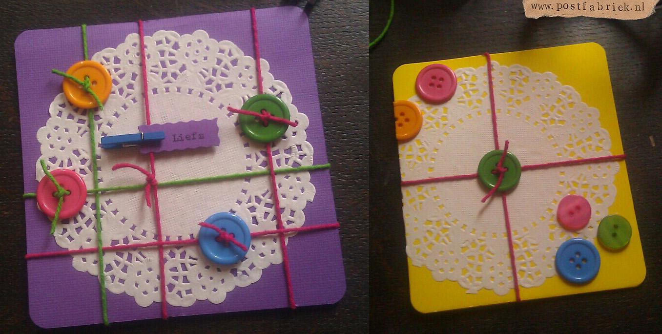 Knopen kaartjes met doilies