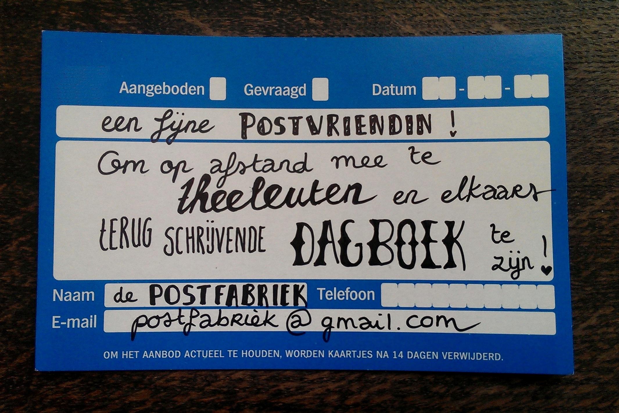 Op zoek naar postvrienden? Bij de Postfabriek kan je een oproepje plaatsen!