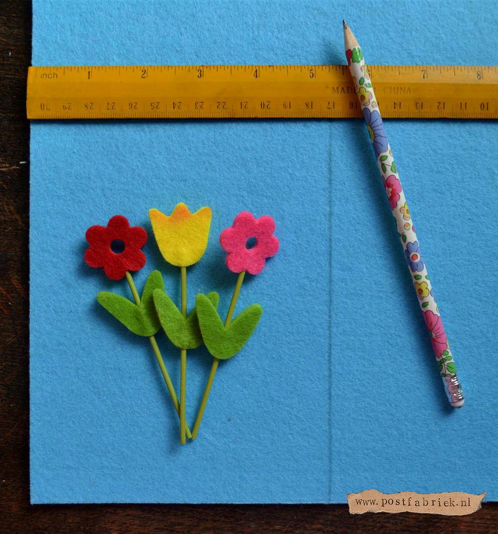 3MM vilt kaart met bloemen