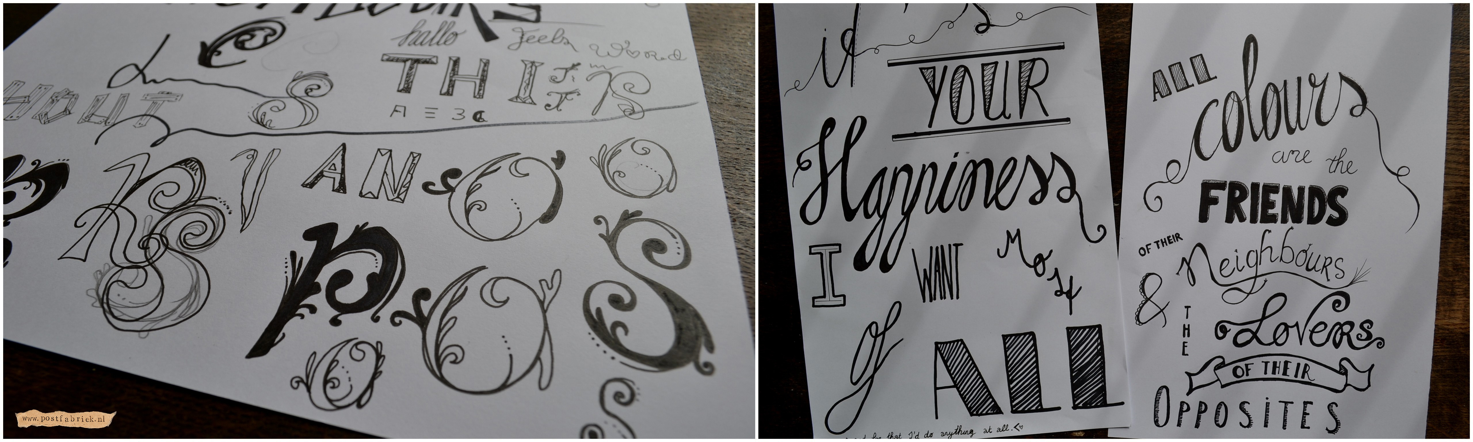 Hand Lettering collage oefenen quotes