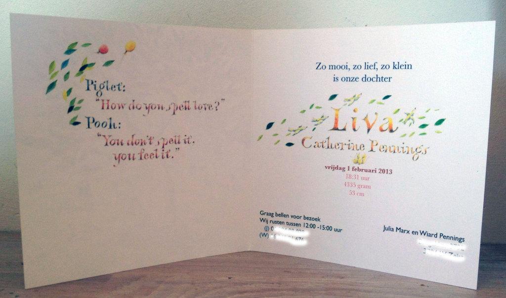 De gekleurde tekst aan de binnenkant van het geboortekaartje is ook met de hand geschilderd, net als de naam.