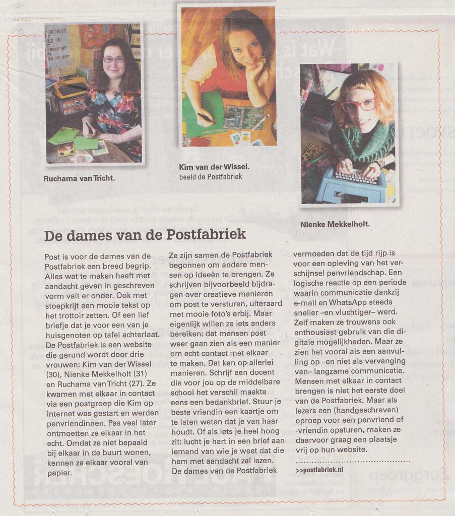 De dames van de Postfabriek in het Reformatorisch Dagblad.