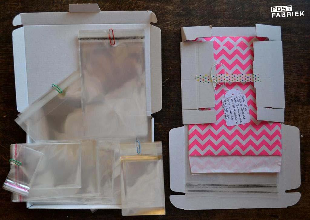 verschillende maten wenskaartzakjes en twee maten brievenbusdoosjes