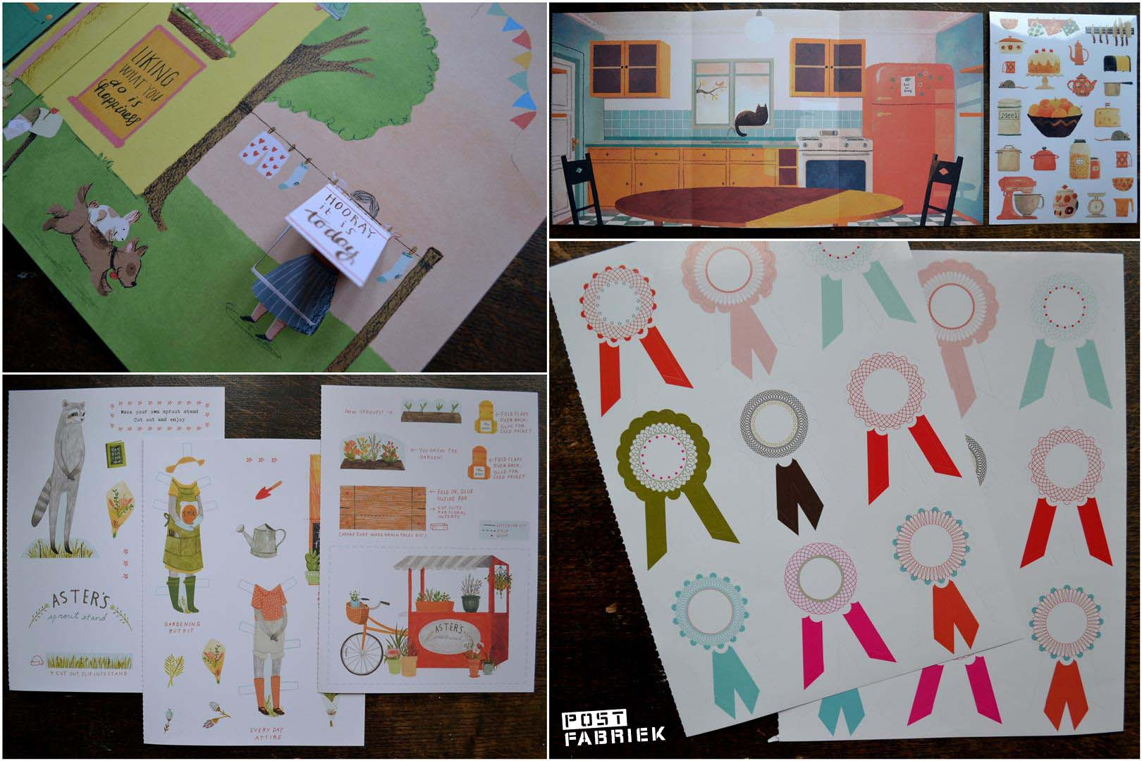 pop-up posters, stickers, aankleedpoppetjes en een plakposter