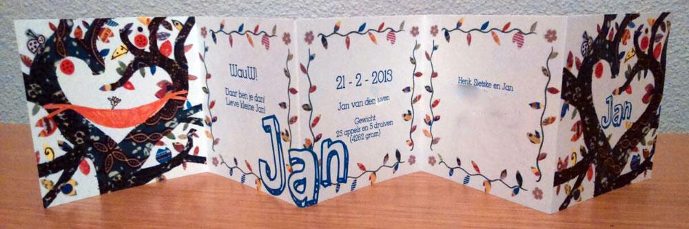 Geboortekaartje Jan met tekst