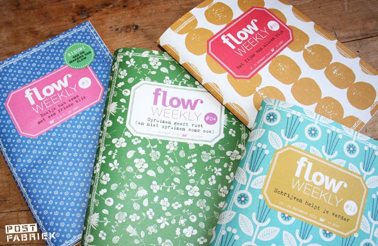 Vier verschillende Flow Weekly schriftjes
