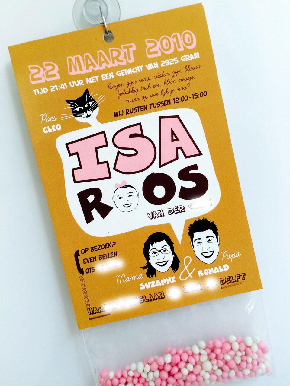 Geboortekaartje van Isa Roos
