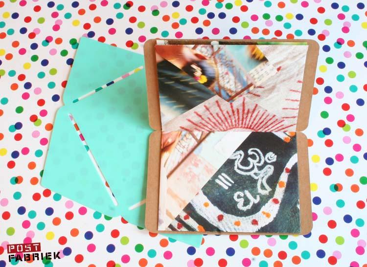 Een boekje met bladzijdes van zelfgemaakte enveloppen.