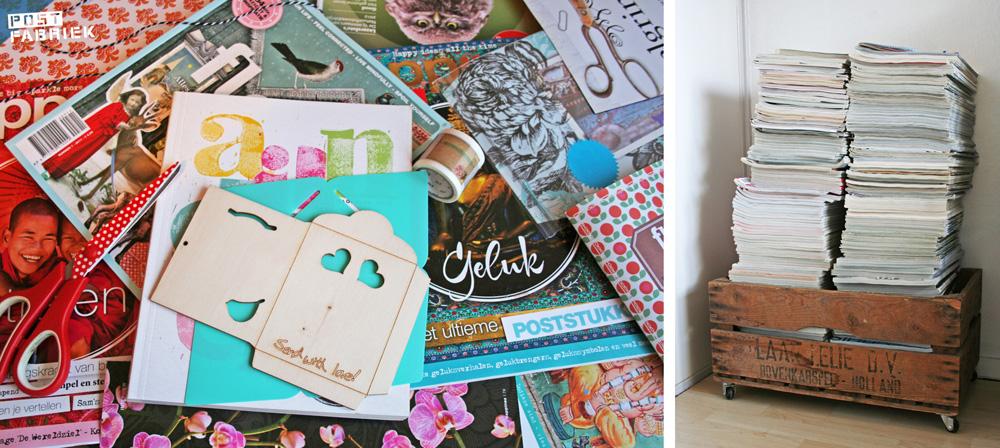 Gekleurde bladzijdes uit tijdschriften zijn prachtig materiaal om post van te maken.