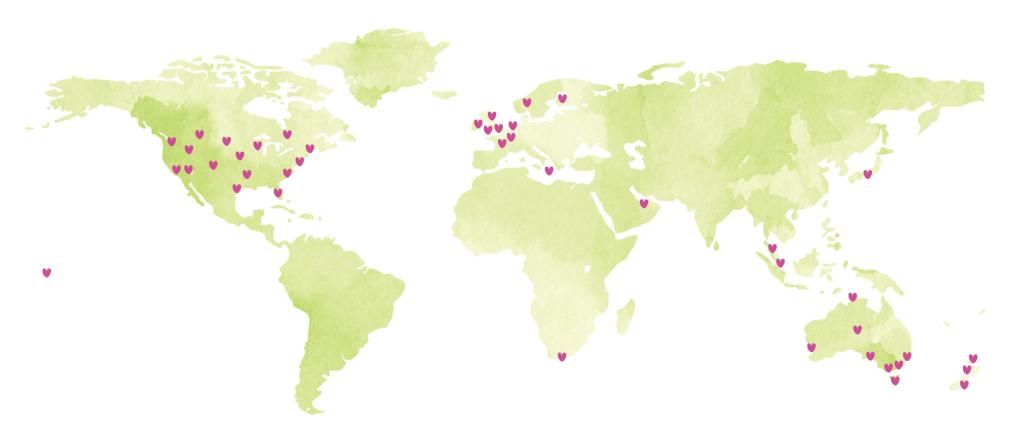 In 2013 verspreidde de liefde zich over 16 landen in de wereld