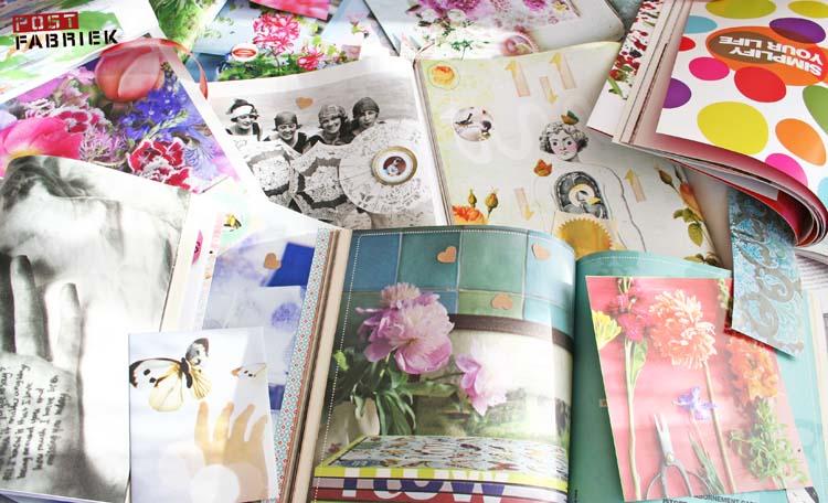 Allerlei mooie bladzijdes uit tijdschriften om post van te maken.