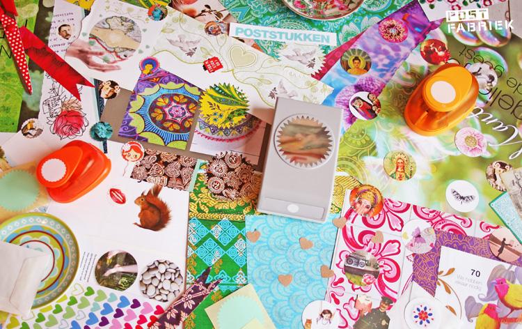 Kleurige bladzijdes uit verschillende tijdschriften, ponsen en zelfgemaakte stickers