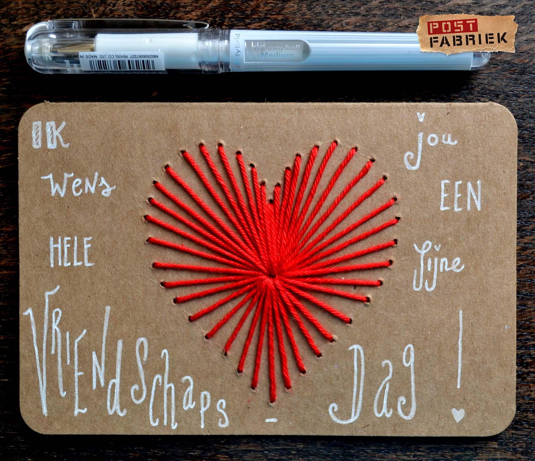 Geborduurde valentijnskaart met handlettering