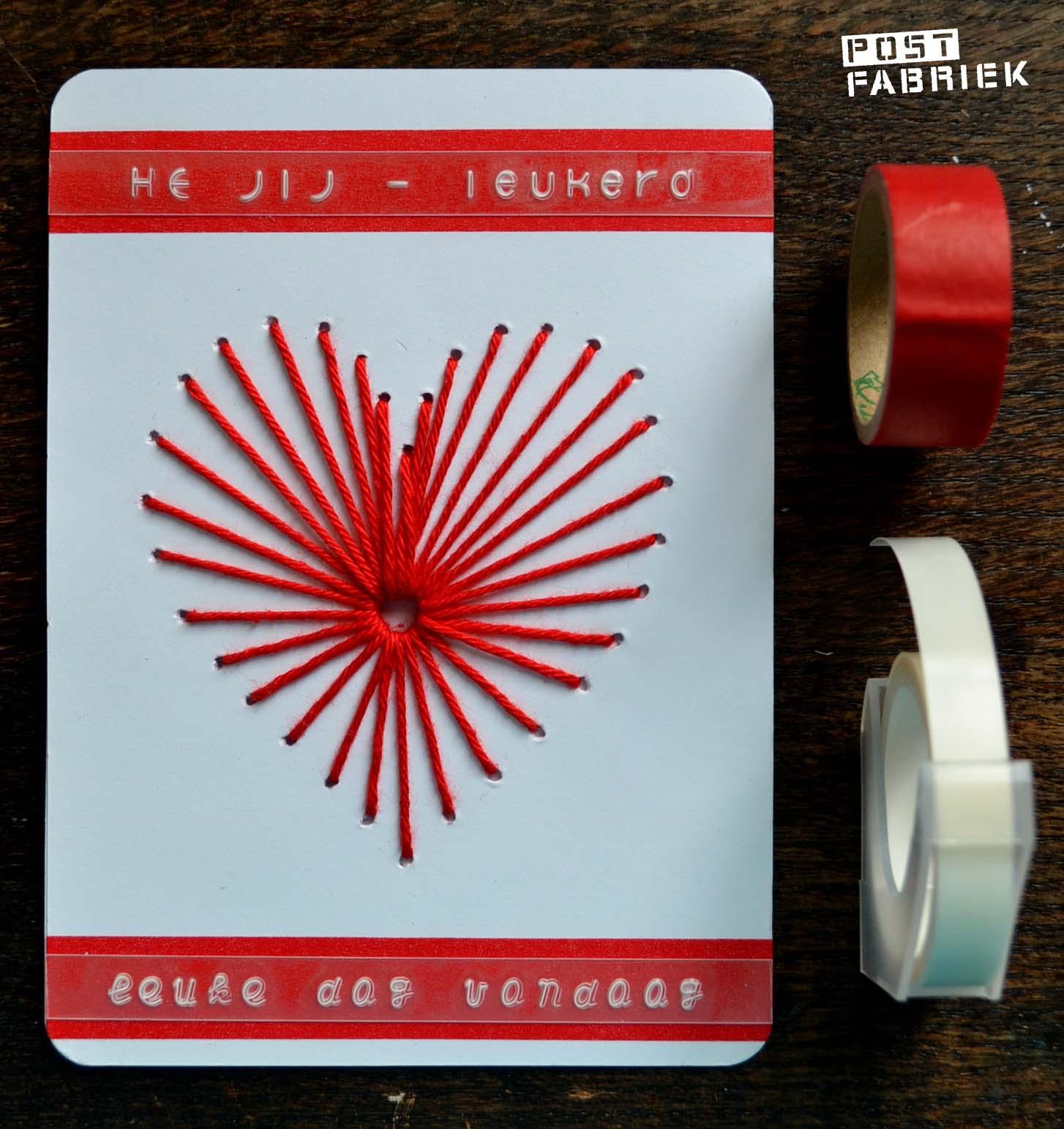 Geborduurde valentijnskaart met tape