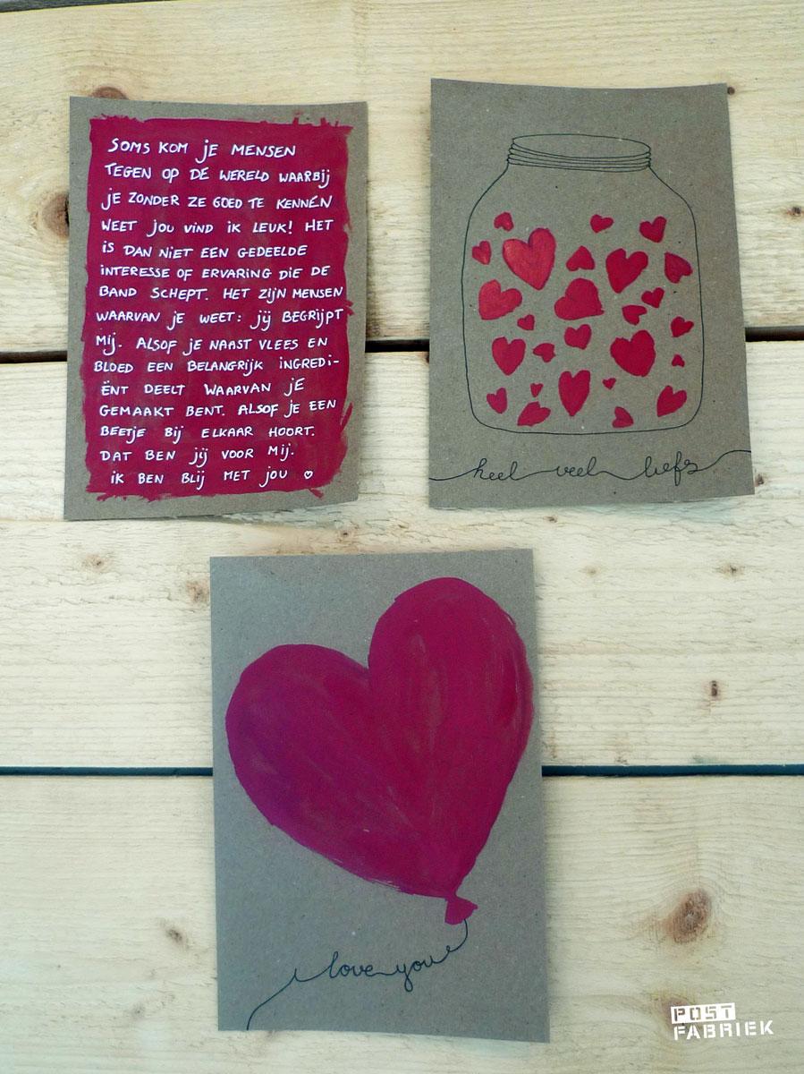 Valentijnskaartjes met waterverf