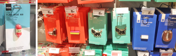 Verschillende bijzondere USB-sticks van HEMA. Leuk om mee te sturen met je post!