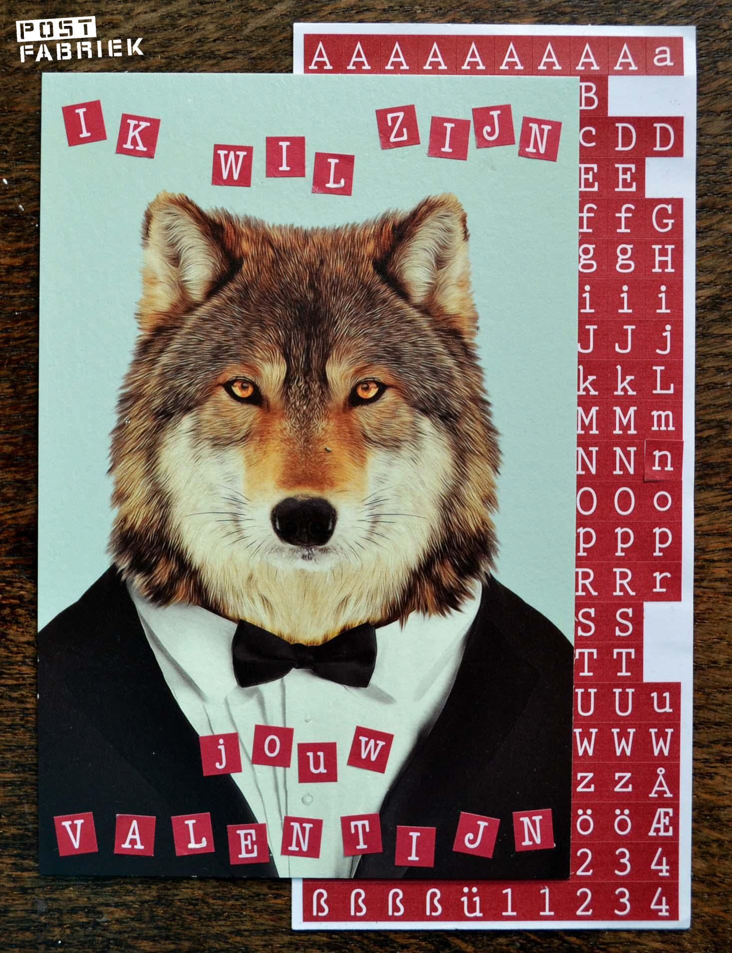 Valentijnskaart met wolf