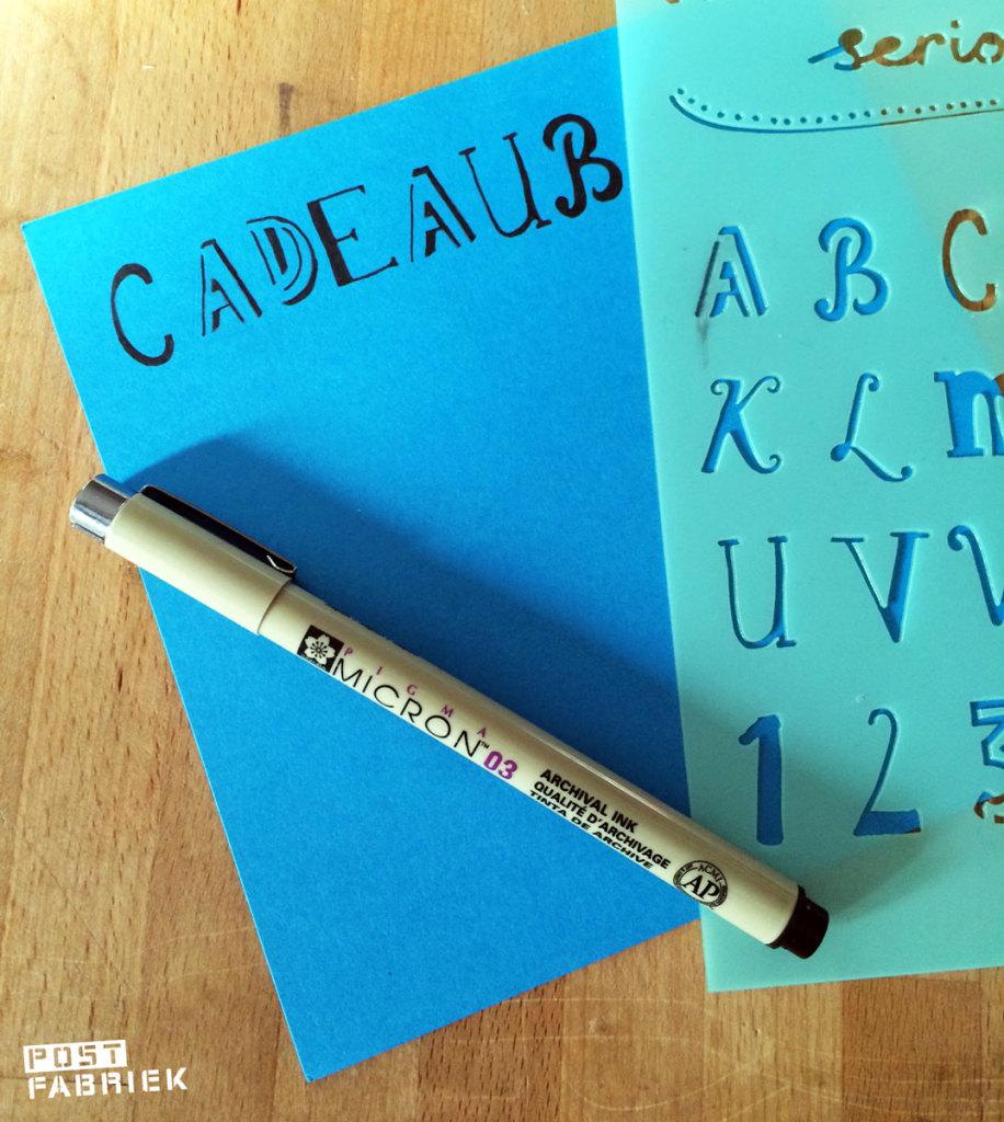Met lettersjablonen van de HEMA maakte ik mijn eigen cadeaubon