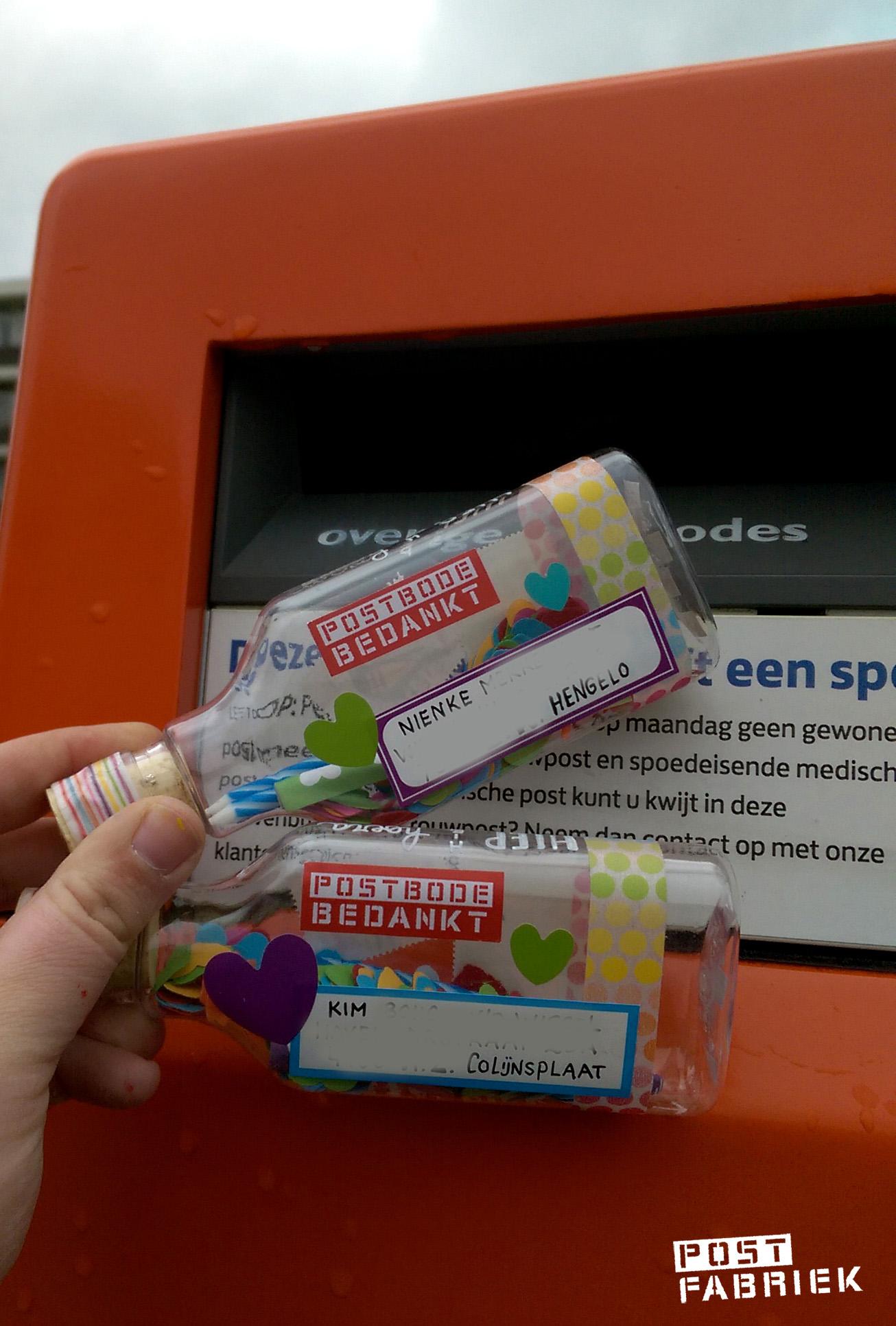 Bedankt postbode, voor het bezorgen van deze onhandige maar leuke flesjes!
