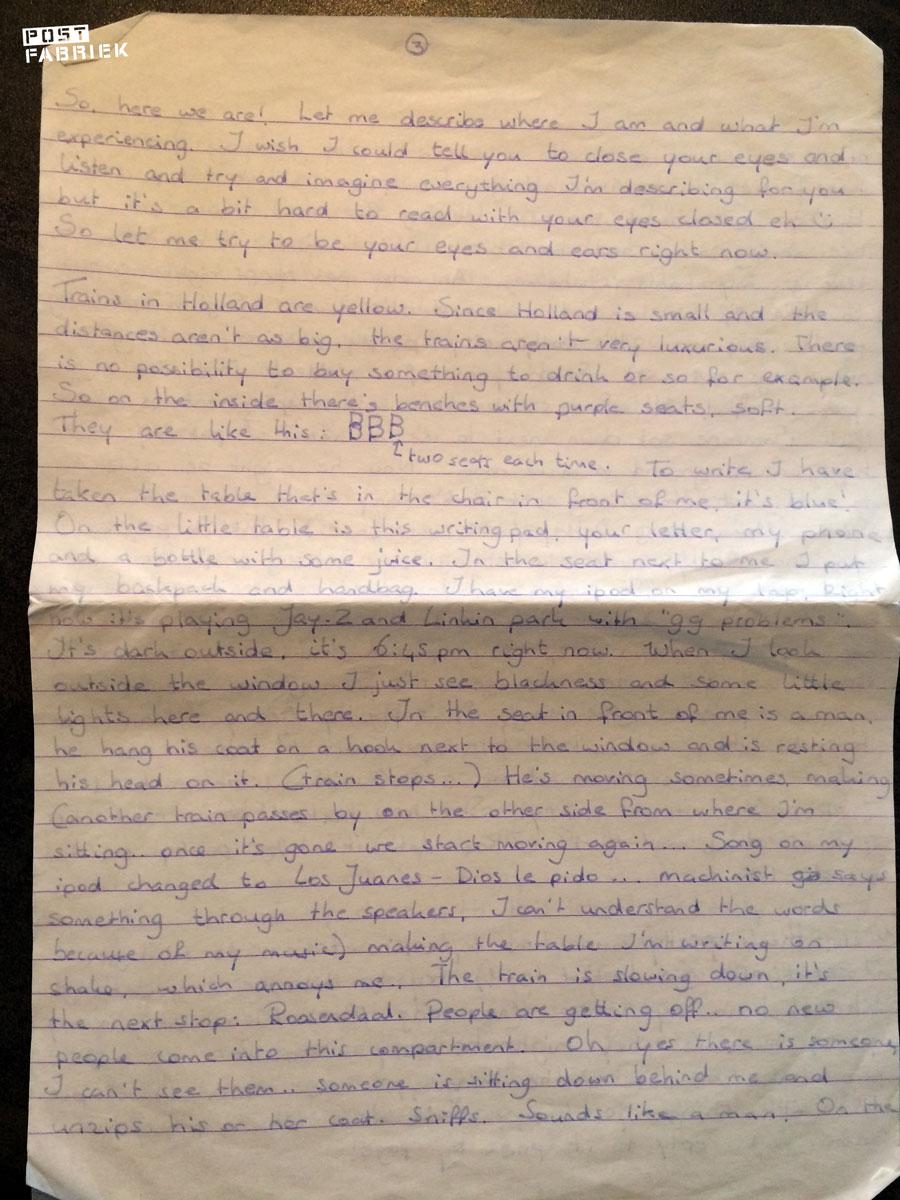 Een kantje uit de brief die ik schreef aan M.