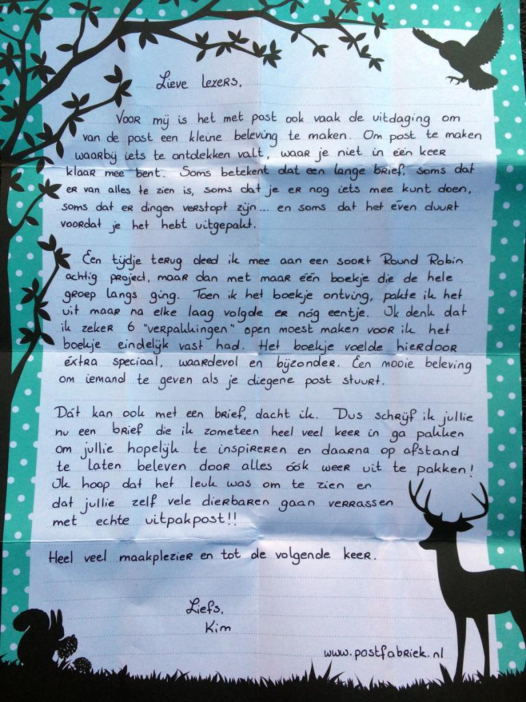 Brief aan de postfabriek-lezers