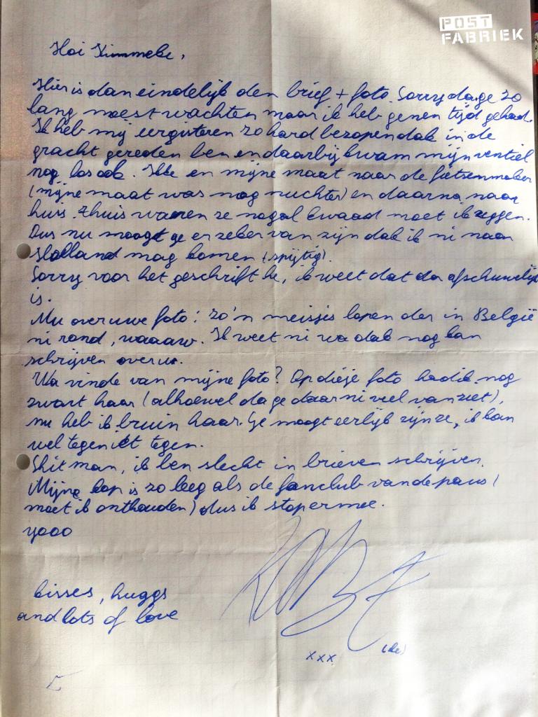 Een brief van een jongen van vakantie