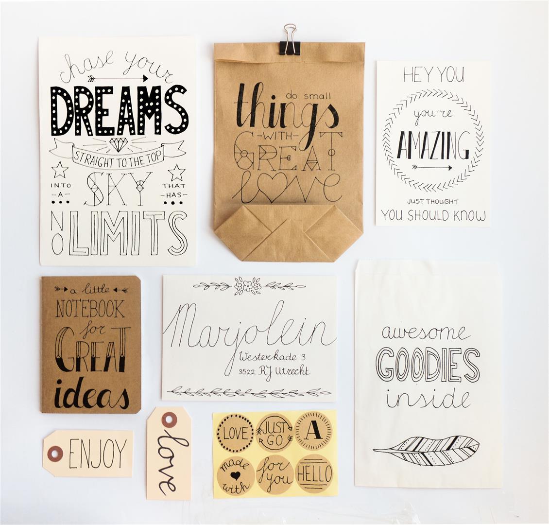 Versier inpak materialen met de mooiste quotes met het handlettering DIY pakket van Dreamkey ism Imakin
