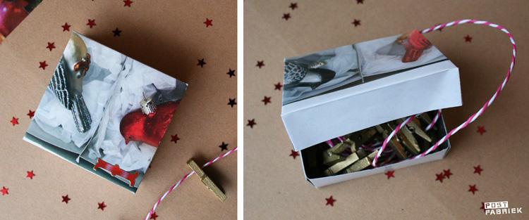 De zelfgemaakt adventskalender begint met een stuk gekleurd touw en kleine wasknijpertjes om alle andere zakjes aan op te hangen.