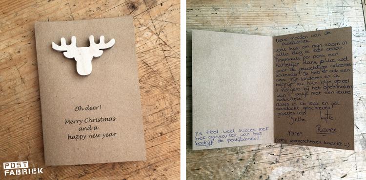 Lezeres Rianne stuurde de meiden van de Postfabriek deze lieve kerstkaart.