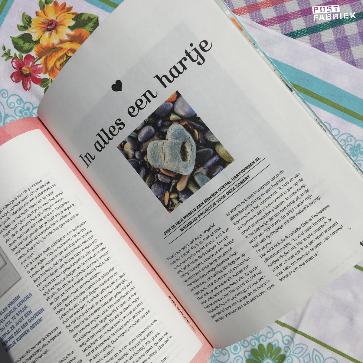 """""""In alles een hartje"""", een artikel in Flow vakantieboek 2016"""