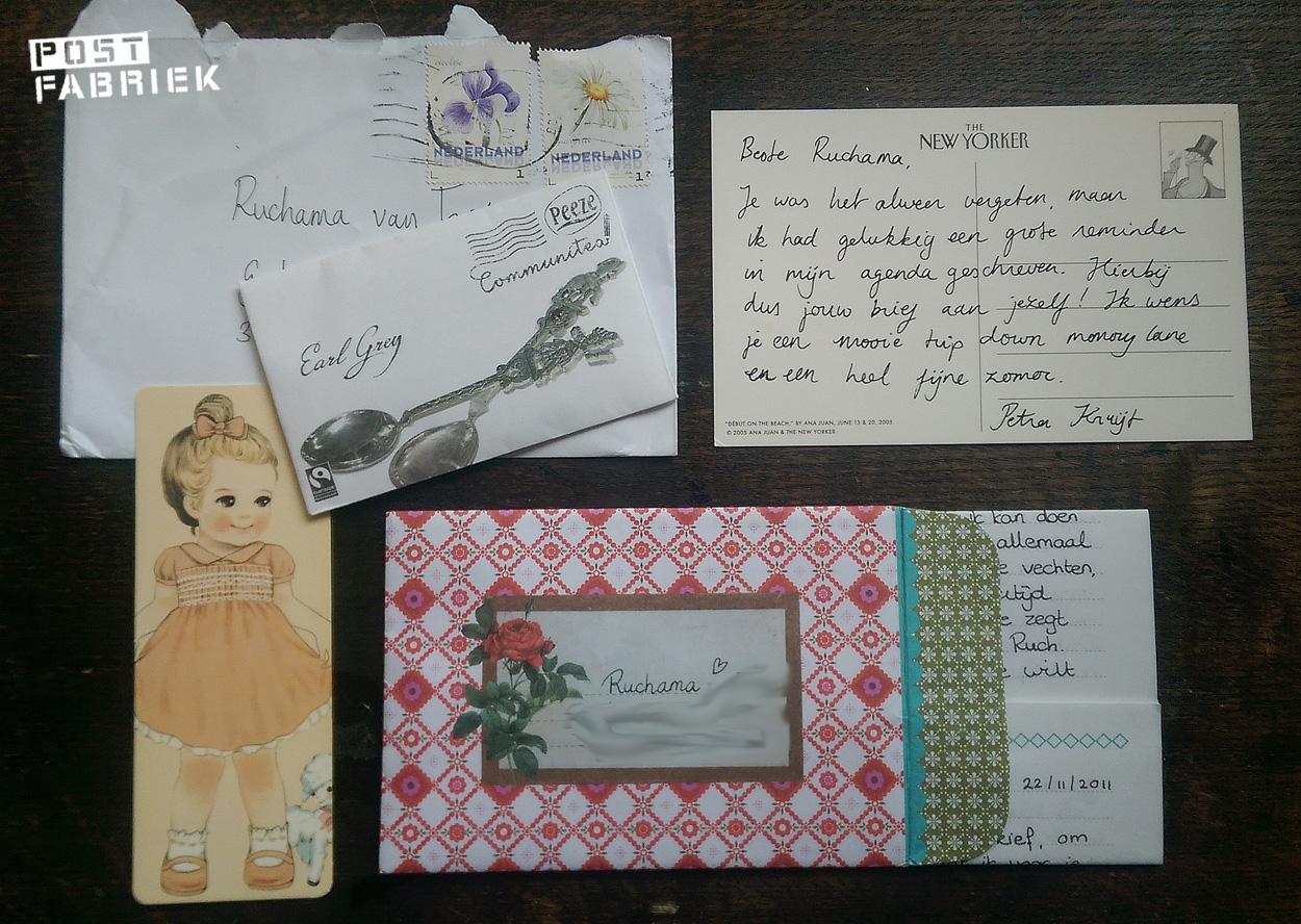 Post van Petra met mijn eigen brief