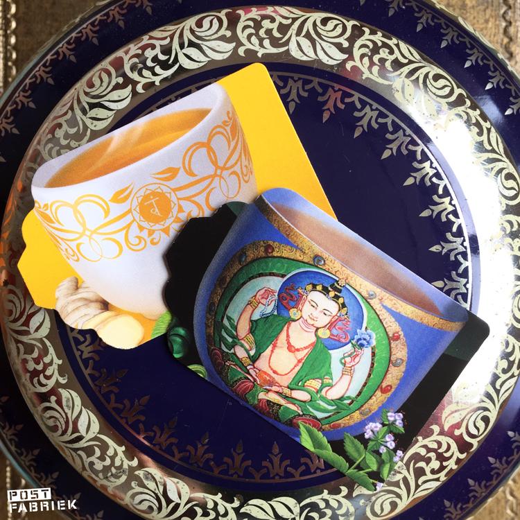 Labels gemaakt van doosjes van Yogi Tea