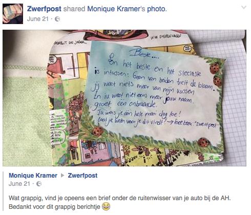 Een vinder laat via de Zwerfpost facebookpagina weten hoe ze het ervaarde om de post te vinden