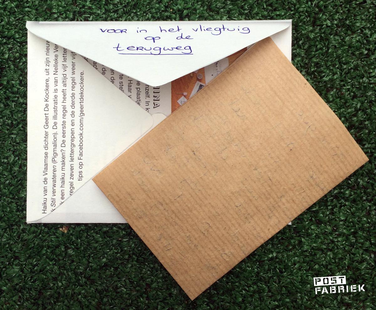 Een brief voor in het vliegtuig terug naar huis