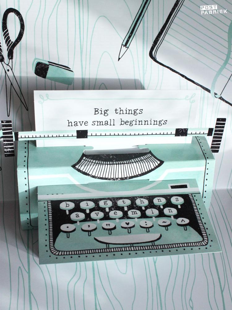 Kijk nou hoe geweldig! Een pop-up typemachine! Een favoriete bijdrage in het Flow Book for Paper Lovers 4