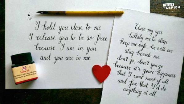 Ruchama kalligrafeerde deze prachtige teksten. Wil je ook oefenen met kalligrafie? Doe mee aan de winactie van Scrittura Elegante.