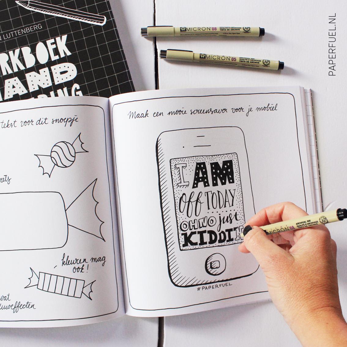 In het werkboek staan allerlei leuke opdrachten, zoals deze: maak een screensaver voor op je telefoon!
