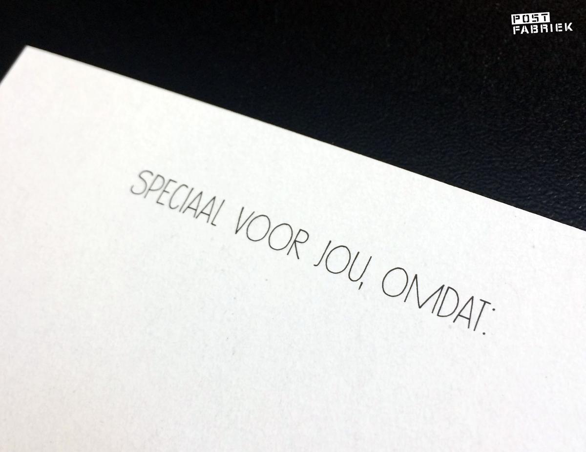 """Achterkant van het kaartje van Zusss met daarop voorgedrukt de tekst """"Speciaal voor jou, omdat:"""""""
