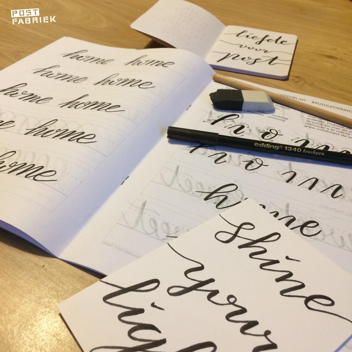 Een avondje oefenen met Brushlettering met Carla Kamphuis