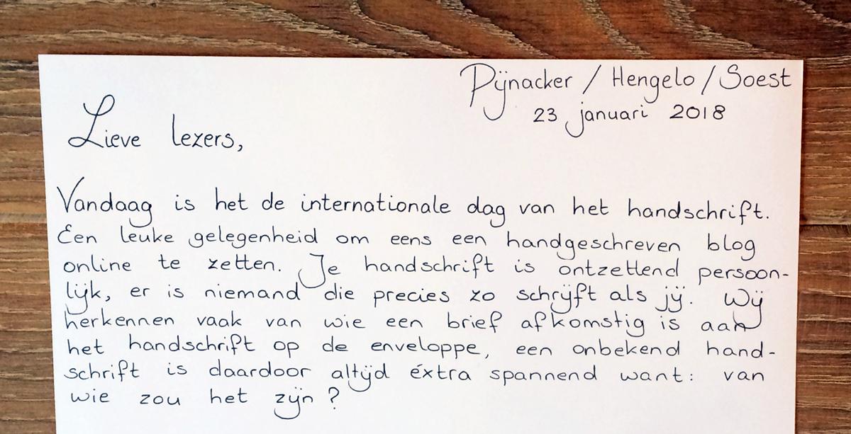Internationale dag van het Handschrift 2018: een handgeschreven blog