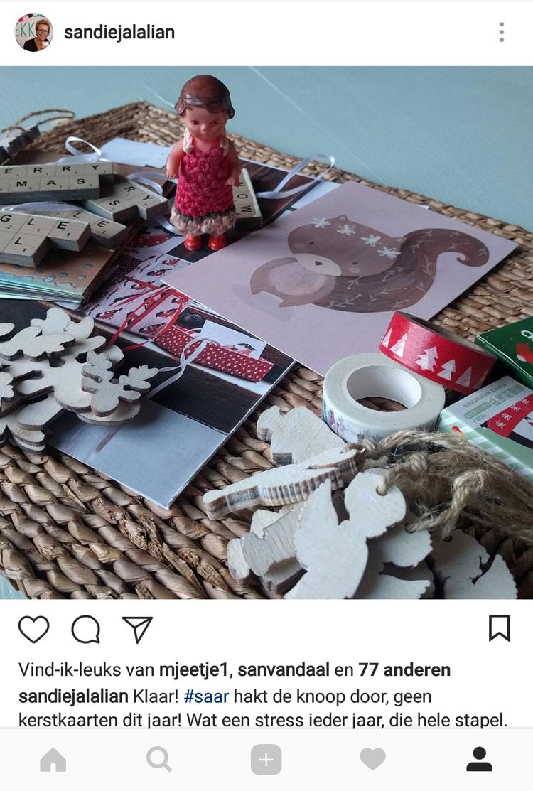 """De mededeling van Sandie op Instagram: """"Geen kerstkaarten dit jaar!"""""""
