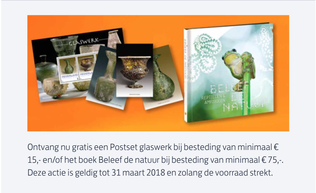 Gratis setjes postzegels bij bestelling vanaf €15,-