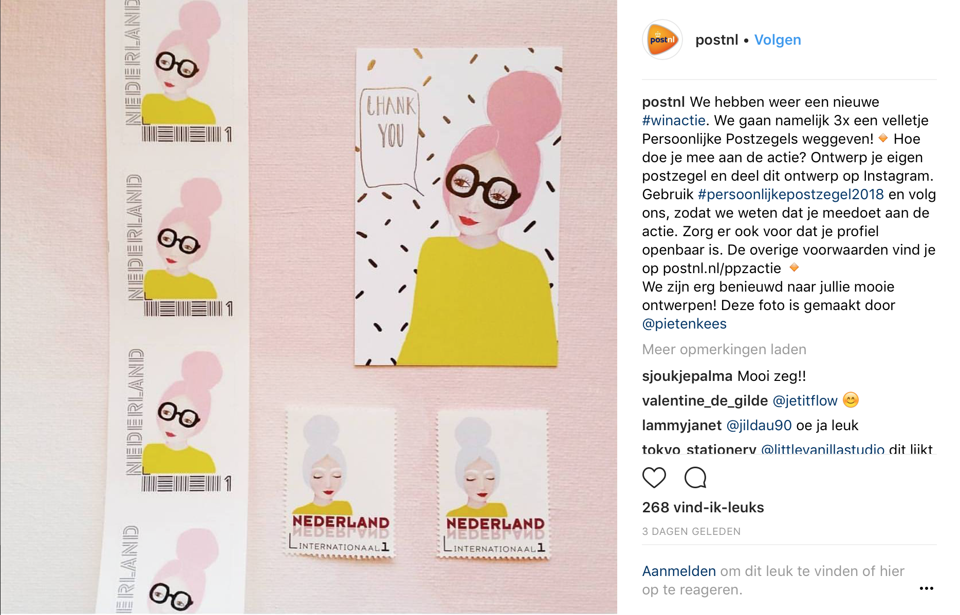 Winactie bij PostNL via Instagram