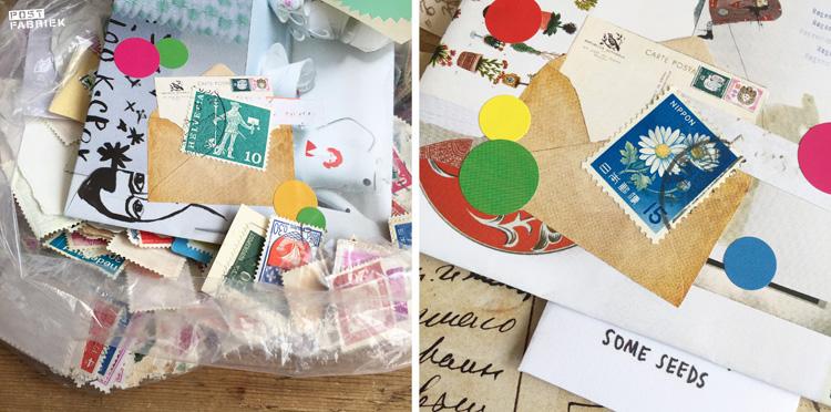 Oude postzegels om je post mee te versieren