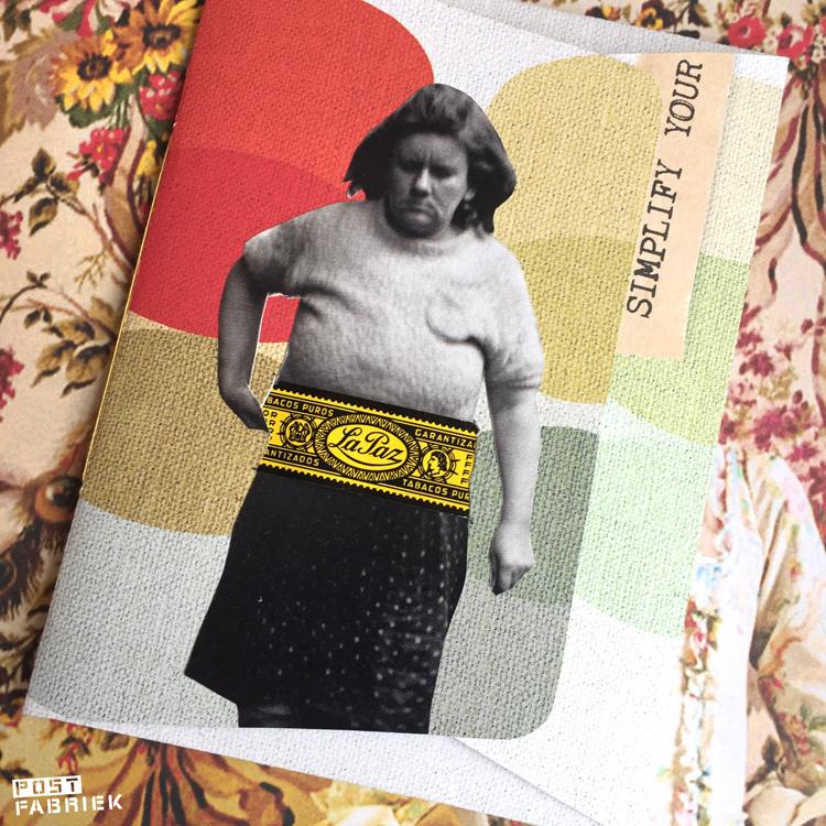 Envelop met collage en sigarenbandje