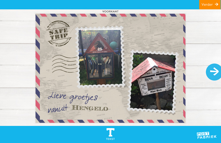 Nienke van de Postfabriek stuurt vakantiegroetjes vanuit huis met de fotokaarten van Greetz! Deze kaart met lieve groetjes vanuit Hengelo wordt nog persoonlijker met eigen foto's.