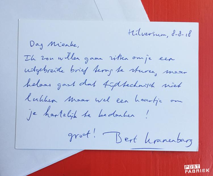 Een kaartje terug van Bert Kranenbarg van radio 5